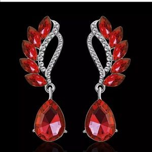 Red Crystal Cz Wing Teardrop Dangle Earrings